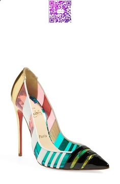Free shipping and returns on Christian Louboutin 'Bandy' Pointy Toe Pump at Nordstrom.com. <p><B STYLE=COLOR:#990000>Pre-order this style today! Add to Shopping Bag to view approximate ship date. You'll be charged only when your item ships.</b></p><br>Turn up the color in Christian Louboutin's Brandy pointy-toe pump. The slice-of-heaven stiletto silhouette plays a sophisticated game of peekaboo through neon translucent panels and tri-color leather stripes. Louboutin's iconic, ...