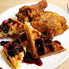 Fried Chicken at Simpatica; Portland, OR ~ Chef David Kreifels serves a curry-seasoned fried chicken at brunch, paired with cakey waffles and a vanilla-infused dried-fruit syrup. Other weekends, the bird gets the eggs Benedict treatment.