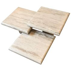 Set of Three Italian Square Travertine Coffee Table | From a unique collection of antique and modern coffee and cocktail tables at https://www.1stdibs.com/furniture/tables/coffee-tables-cocktail-tables/