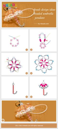 beads design ideas-beaded umbrella pendant