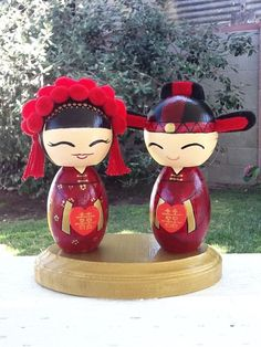 Custom Handmade Wedding Kokeshi Cake Topper By Ohmissco On Etsy Couple In Traditional Chinese Qun