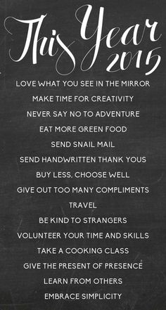 New year's resolutions ...