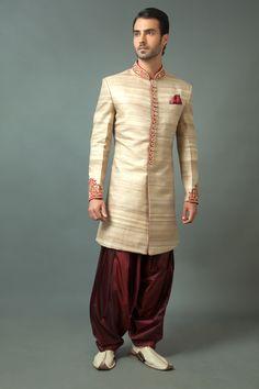 Polyester tussar silk indo western sherwani embellished with zardozi work. Item number M15-115