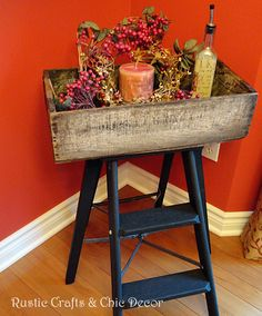 Step Ladder + Old Crate = Tray Table - great for a temporary table for different projects!!