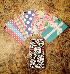 DIY phone cover- clear phone case with designs printed off the computer and cut out or you can use scrapbook paper... unlimited possibilities :)
