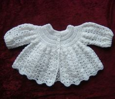 classic crocheted baby matinee coat in white 4ply ref 460 £8.00