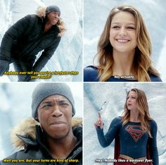 """""""Anybody ever tell you you're a lot faster tan your cousin?"""" - James and Kara #Supergirl"""