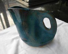 Pottery Pitcher Ceramic Pitcher. Large in Blue by PotteryBySaleek, $30.00