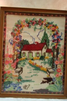 Framed Vintage Embroidered Scenery Wall by TheTreasureHuntLLC, $24.00