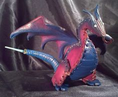 Leather Shoulder Dragon Purple and Blue OOAK by artchik101 on Etsy