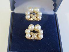 Vintage faux pearl crystal  pierced earrings by Antiqueandsupplies