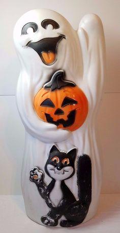 "Vintage Halloween Plastic Jack O Lantern Pumpkin Ghost Cat Light Blow Mold 33"""