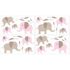 Sweet Jojo Designs Mod Elephant 4-Piece Wall Decals Set in Pink/Taupe - buybuyBaby.com