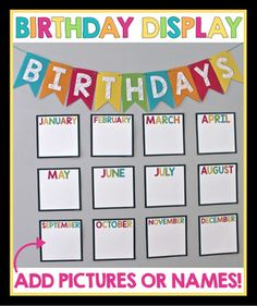 Ideas birthday board preschool classroom displays teachers for 2019 Preschool Birthday Board, Birthday Display In Classroom, Birthday Bulletin Boards, Birthday Wall, Classroom Bulletin Boards, Classroom Displays, Birthday Display Board, Birthday Calendar Classroom, Preschool Displays