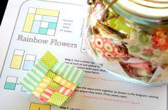 (7) Name: 'Quilting : Rainbow Flowers Mini Block
