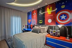 18 Astounding Superhero Themed Kids Room Designs That Everyone Need To See / Jazz Photo Source Marvel Bedroom, Avengers Bedroom, Superhero Room, Boys Bedroom Decor, Bedroom Ideas, Kids Room Design, New Room, Home Decor, Rooms