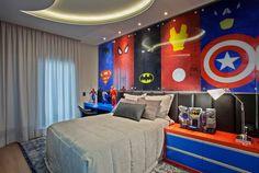 Quarto Infantil, Menino, Super Heróis, Azul, Vermelho, Cama, Criado