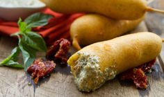The fresh taste of pesto partners with these tasty Italian meatballs for a great corn dog crunch!