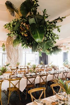 Tropical greenery makes for a modern and lush installation. Floral Centerpieces, Wedding Centerpieces, Wedding Table, Wedding Decorations, Centerpiece Ideas, Lilac Wedding, Floral Wedding, Wedding Flowers, Tropical Wedding Reception