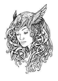 Valkyrie tattoo design - ink drawing