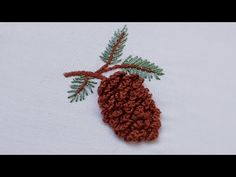 115- Hand embroidery | Brazilian embroidery | Pinecone embroidery | embroidery for beginners - YouTube Bead Embroidery Patterns, Hand Embroidery Flowers, Flower Embroidery Designs, Beaded Embroidery, Sewing Patterns, Blouse Pattern Free, Brazilian Embroidery Stitches, Embroidery For Beginners, Pine Cones