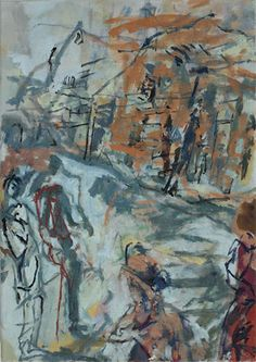 Stella Downer Fine Art - Dealer Consultant & Valuer - Featuring work by Rod Holdaway - Figures on a Sydney Street
