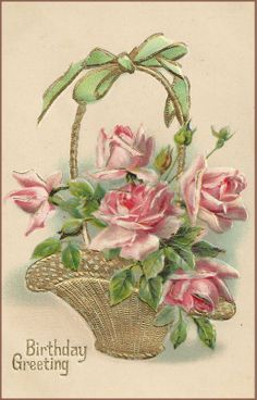 Library ❀⊱Vintage Greeting Cards⊰❀ sweet rose basket