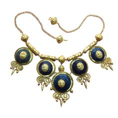 Gold and Blue Glass Neo Etruscan Necklace, c. 1870