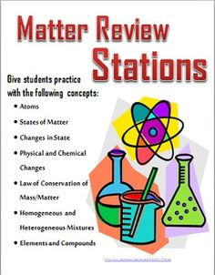 Review matter concepts (atoms, mixtures, elements, compounds, states of matter, law of conservation of mass/matter, physical and chemical changes, changes in states of matter) with stations around the room
