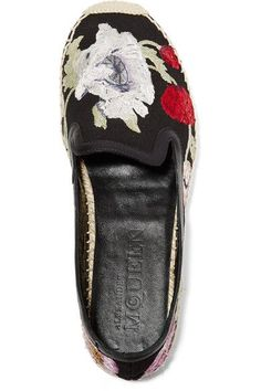 Alexander McQueen - Leather-trimmed Embroidered Canvas Espadrilles - Black - IT39.5