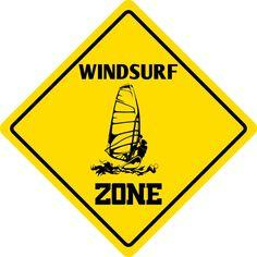 "Aluminum Windsurf Zone Funny Metal Novelty Sign 12""X12"""