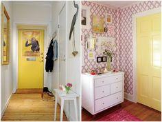 uma cara nova pra decoração de casa só mudando a cor das portas!