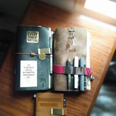 Beautiful photo from our customer Mr. We adore the ageing leather cover … – ThePins Moleskine, Mens Gadgets, Cool Journals, Commonplace Book, Stationery Pens, Calligraphy Pens, Leather Journal, Journal Notebook, Bookbinding