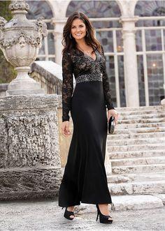 O rochie pentru ocazii deosebite, cu un model feminin și decorativ! Decolteu la spate, mâneci lungi din dantelă, aplicații cu ștras și o lungime de cca. 140 cm la măr. 36/38. material superior: 95% poliester, 5% elastan, dantelă: 95% poliester, 5% elastan
