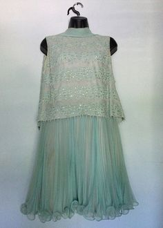 Baby blue 1960's chiffon and sequins