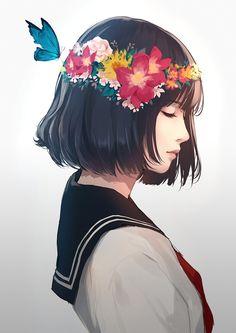 รูปภาพ anime, kawaii, and color+colorful+cutie Art Anime, Anime Art Girl, Manga Art, Cool Anime Girl, Digital Art Girl, Anime Scenery, Cartoon Art, Aesthetic Anime, Kawaii Anime