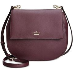 Kate Spade New York Cameron Street Byrdie Saddle Crossbody (2,240 GTQ) ❤ liked on Polyvore featuring bags, handbags, shoulder bags, mahogany, cross body, kate spade, crossbody shoulder bags, round handbags and purple cross body purse