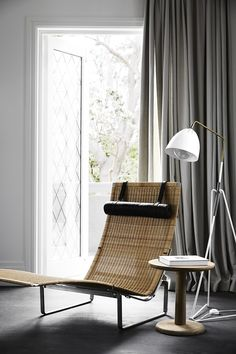 lounge chair by Poul Kjærholm from Fritz Hansen and Pon table by Jasper Morrison from Fredericia Furniture Coastal Furniture, Coastal Decor, Coastal Curtains, Coastal Entryway, Coastal Rugs, Coastal Bedding, Coastal Lighting, Coastal Farmhouse, Coastal Cottage