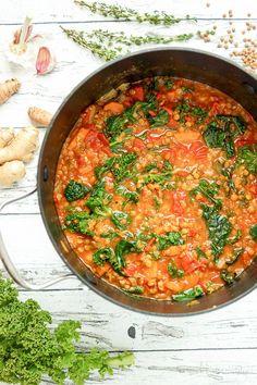Linsensuppe mit Kurkuma, Ingwer und Grünkohl Rezept - vegan und glutenfrei, healthy rezepte vegetarisch