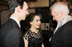 """Sean Mathias (R) chatting with Breakfast at Tiffanys stars Cory Michael Smith and Emila Clark - From """"Five Questions for Sean Mathias"""" By David Mixner"""