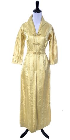 Beautiful Gold silk satin vintage 1940's hostess gown or robe