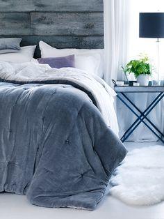 NEW Velvet & Linen Kingsize Quilt - Dove Grey - Indoor Living