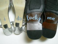 His & Hers I DO Shoe Stickers in Blue I Do  and by Forweddingsake, $20.00