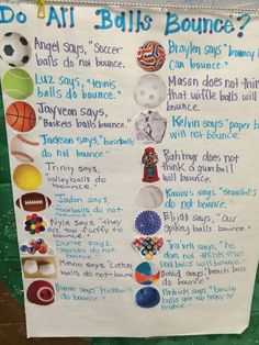 Pre-K shared writing for Creative Curriculum's Ball Study Creative Curriculum Preschool, Preschool Lesson Plans, Preschool Science, Preschool Classroom, Classroom Activities, Classroom Ideas, Pre K Curriculum, Daycare Curriculum, Curriculum Mapping