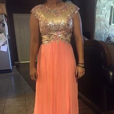 Madison James tan/coral size 8 basically brand new and only worn once! Madison James  Dresses Prom