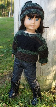 American Girl Doll Clothes -  18 inch Doll Clothes   Sweater Outfit - Sweater - Hat and Leggings