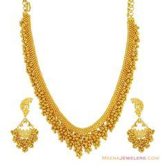 22K Filigree Designer Necklace Set.