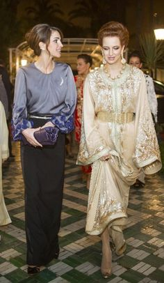 HM Queen Rania of Jordan and HRH Princess Lalla Salma of Morocco attending a dinner banquet at the Royal Palace in Casablanca. in honor of the Jordanian Royal Couple's visit to Morocco, March 2015.