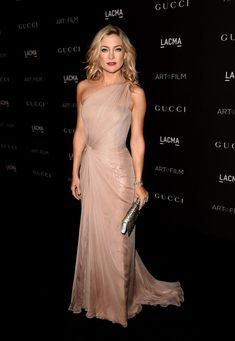 Kate Hudson looked like a goddess in her blush-colored Gucci Premiere one-shoulder gown at the LACMA Art + Film Gala. Brand: Gucci Premiere