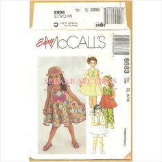 McCalls 8683 Sewing Pattern Girls' Dress, Top, Pants & Shorts Size 6 7 8 Used 023795868334 on eBid Canada